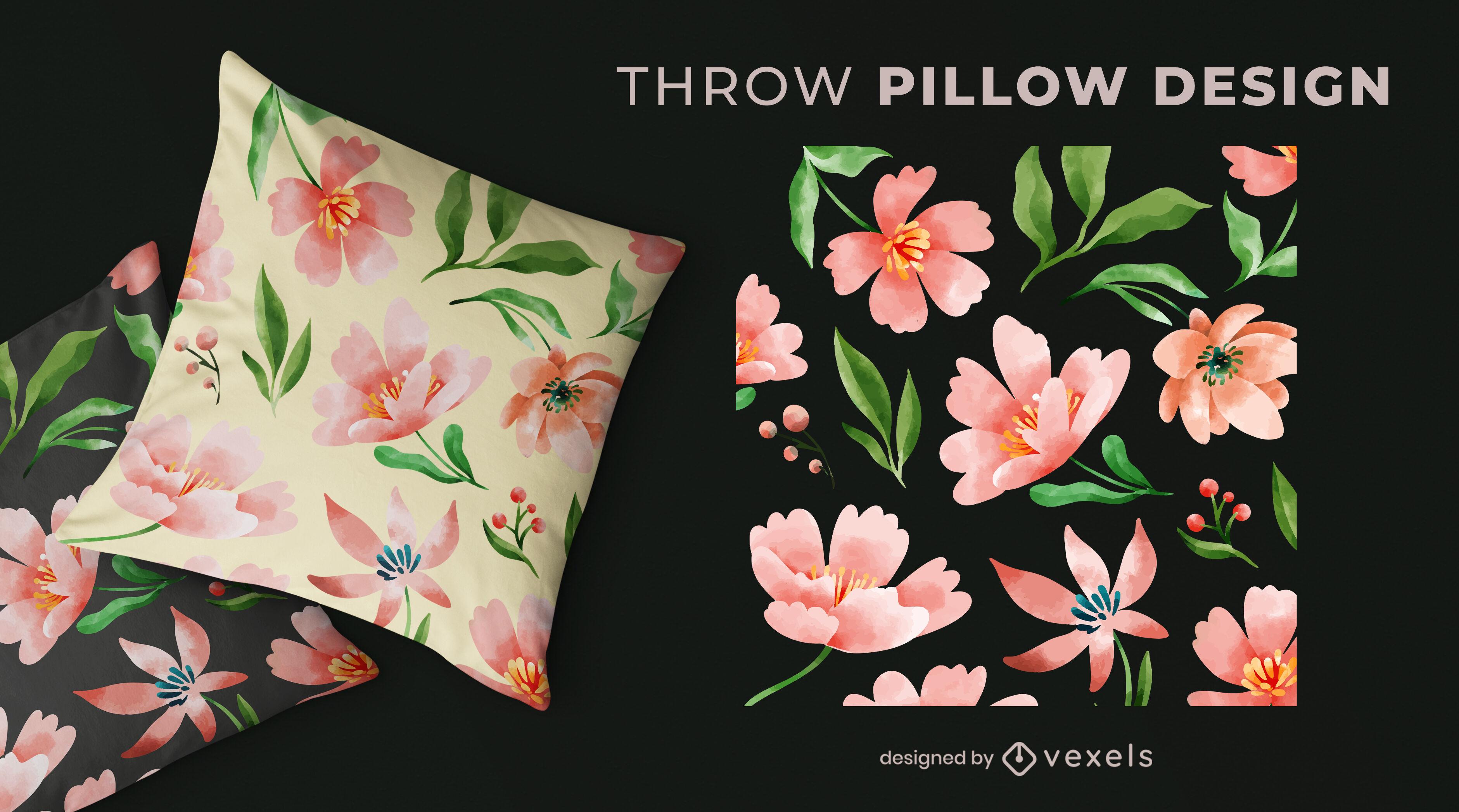 Desenho de travesseiro com estampa de flores em aquarela