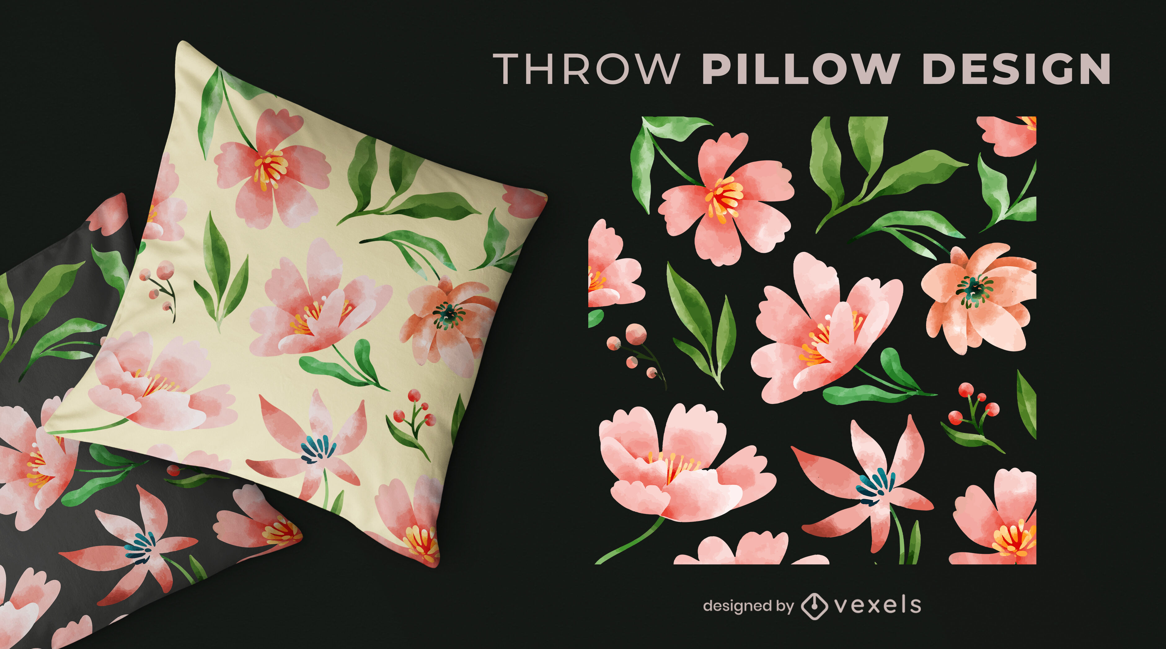Watercolor pink flowers pattern pillow design