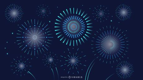 Night Sky Fireworks Background