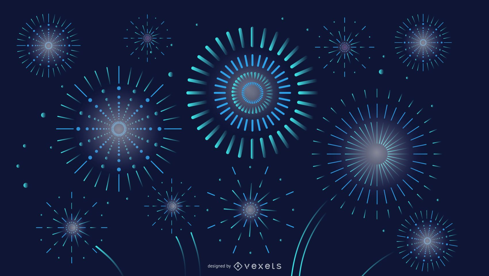 Night Sky Fireworks Background