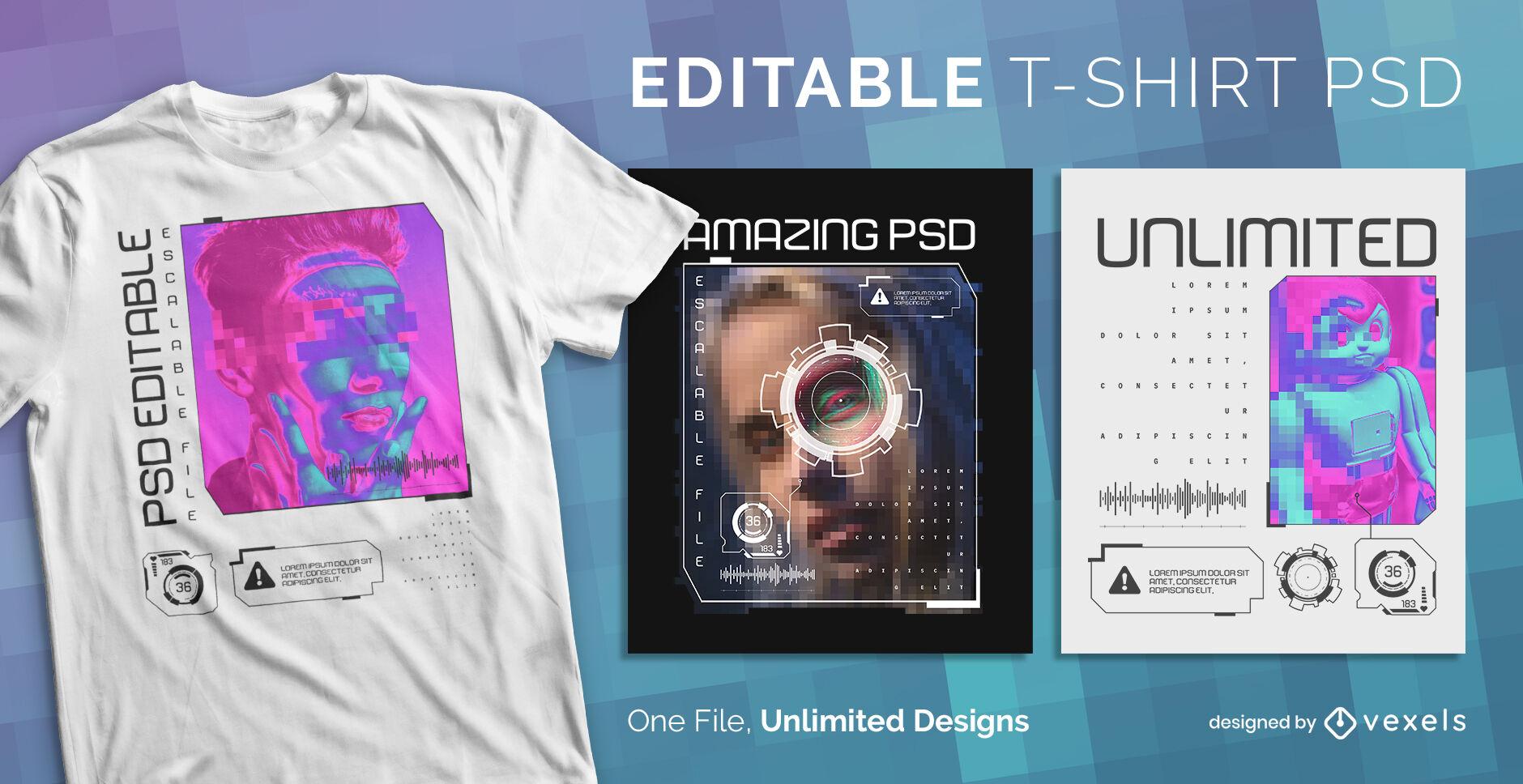 Diseño de camiseta psd escalable de efectos digitales.