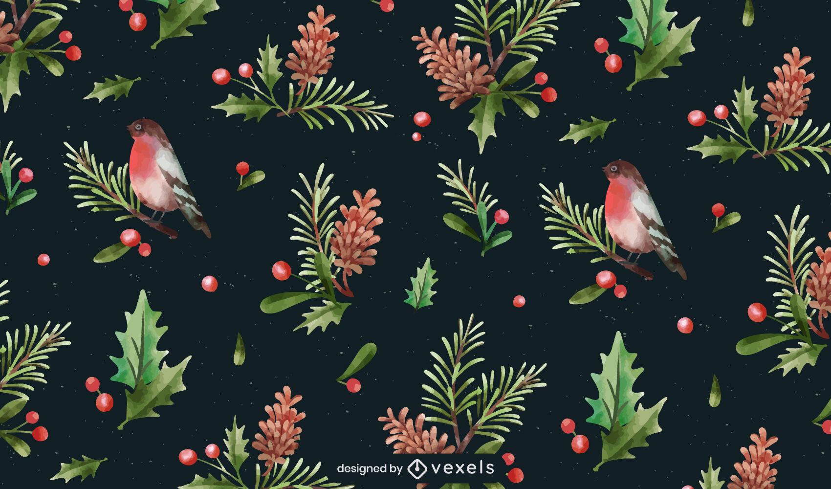 Mistletoe plants watercolor pattern design
