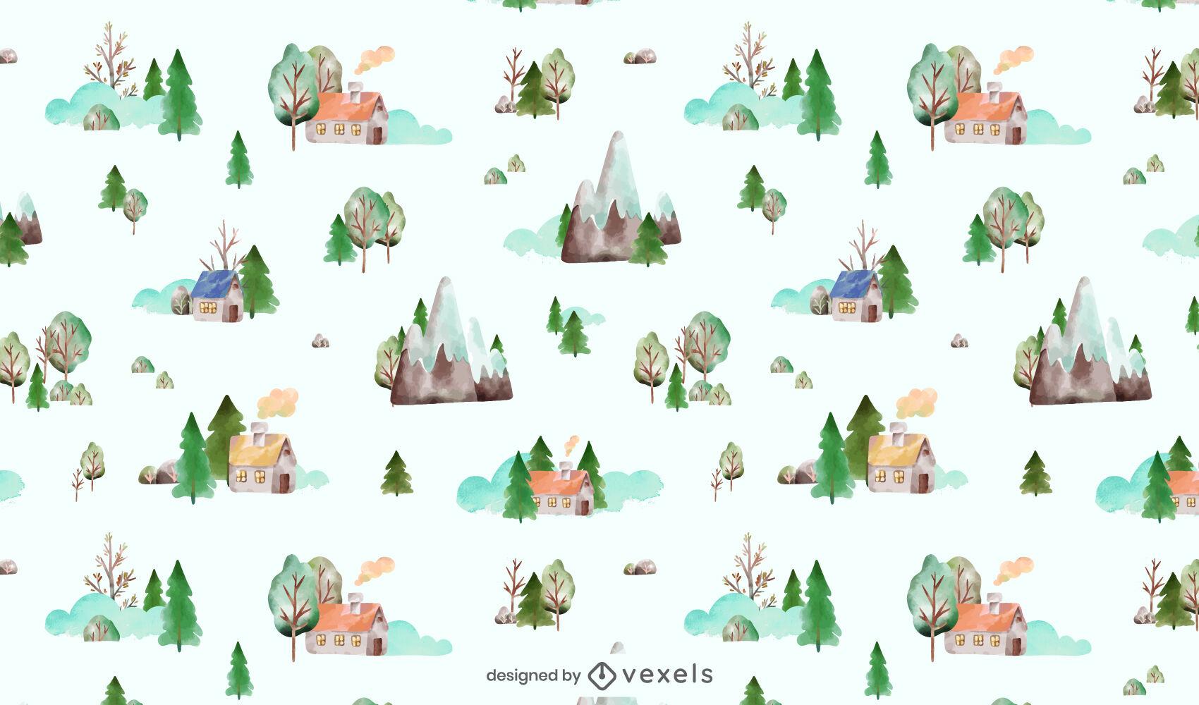 Diseño de patrón de acuarela de elementos de naturaleza de invierno