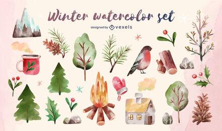 Winter nature elements watercolor set