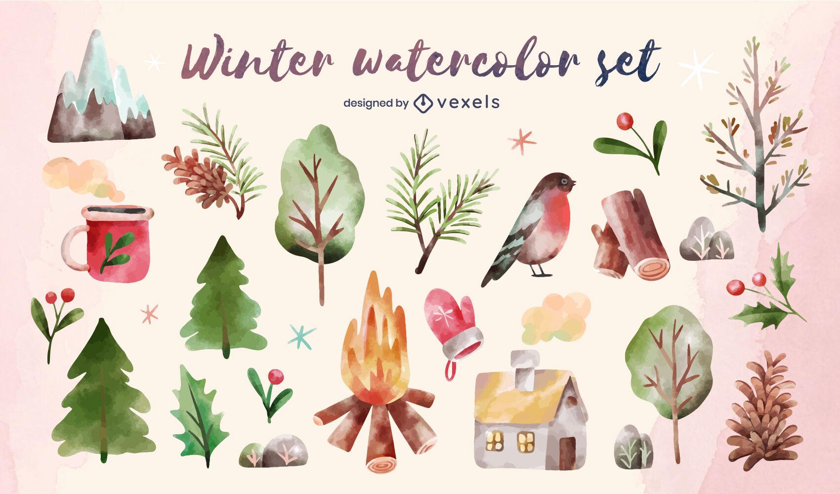 Conjunto de acuarela de elementos de naturaleza de invierno