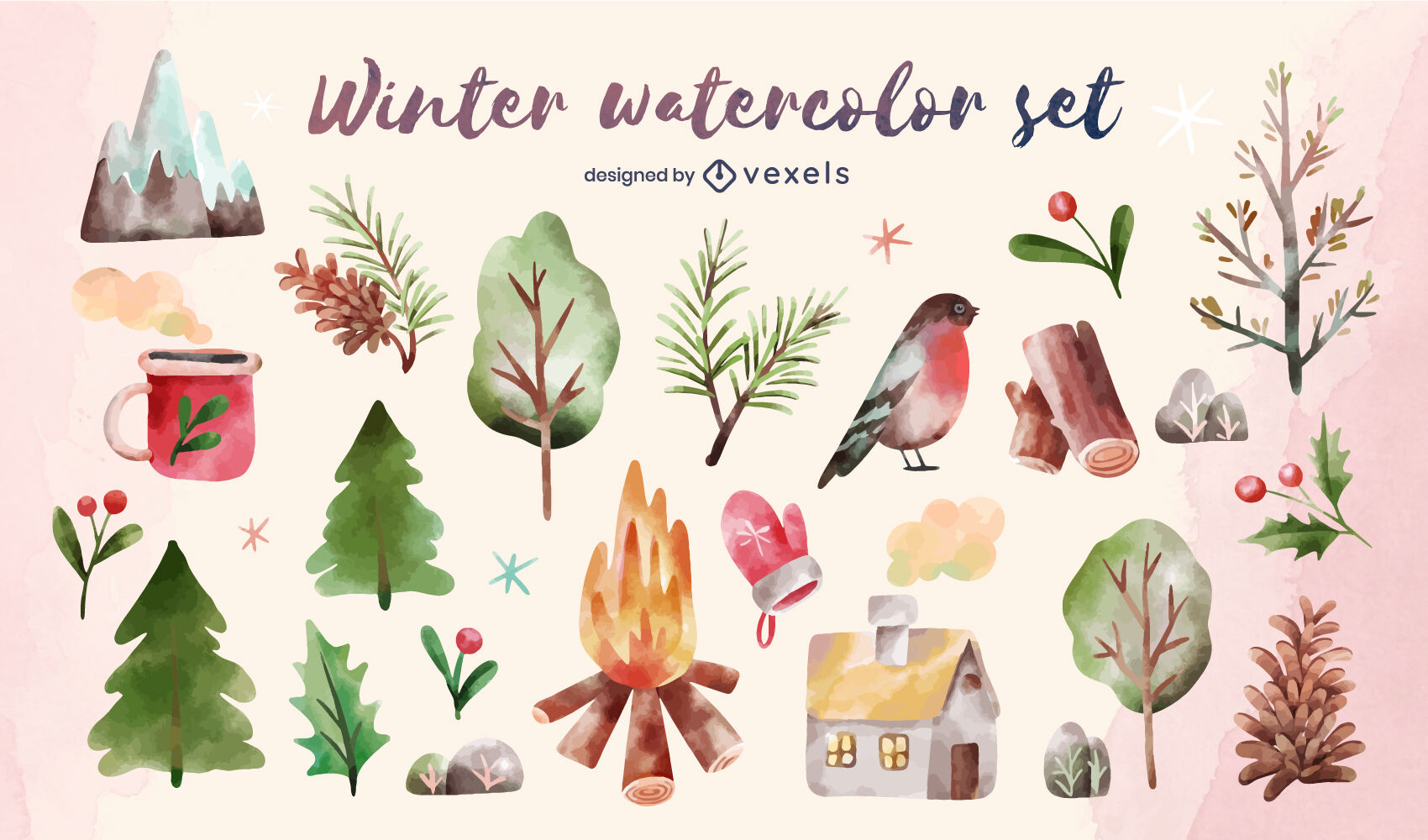 Winter Naturelemente Aquarell-Set