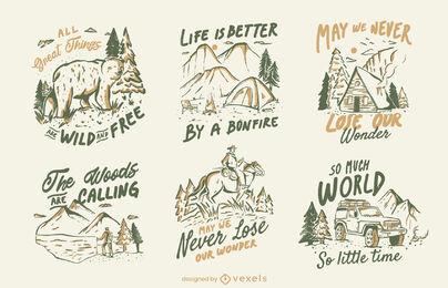 Winter nature camping quotes badge set