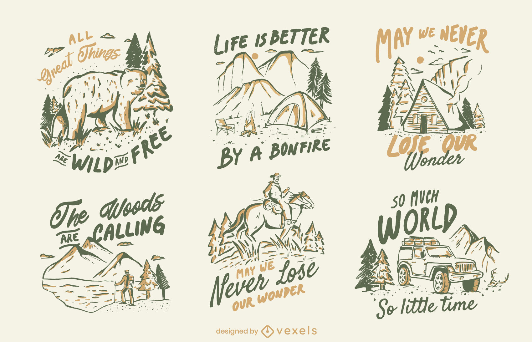Conjunto de insignias de citas de camping de naturaleza de invierno