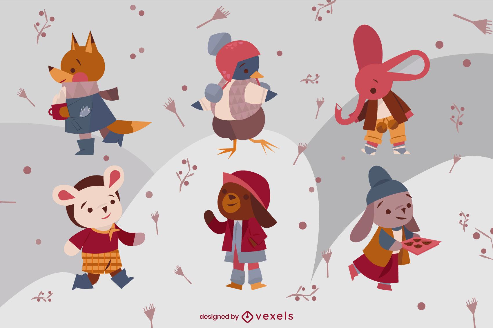Conjunto de caracteres de roupas de inverno de animais fofos