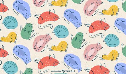 Cat animals colorful doodle pattern design