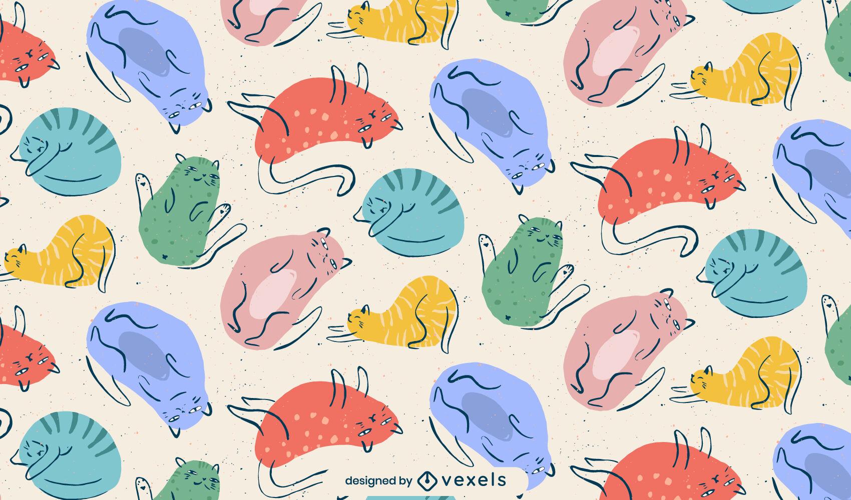 Diseño de patrón colorido doodle de animales gato