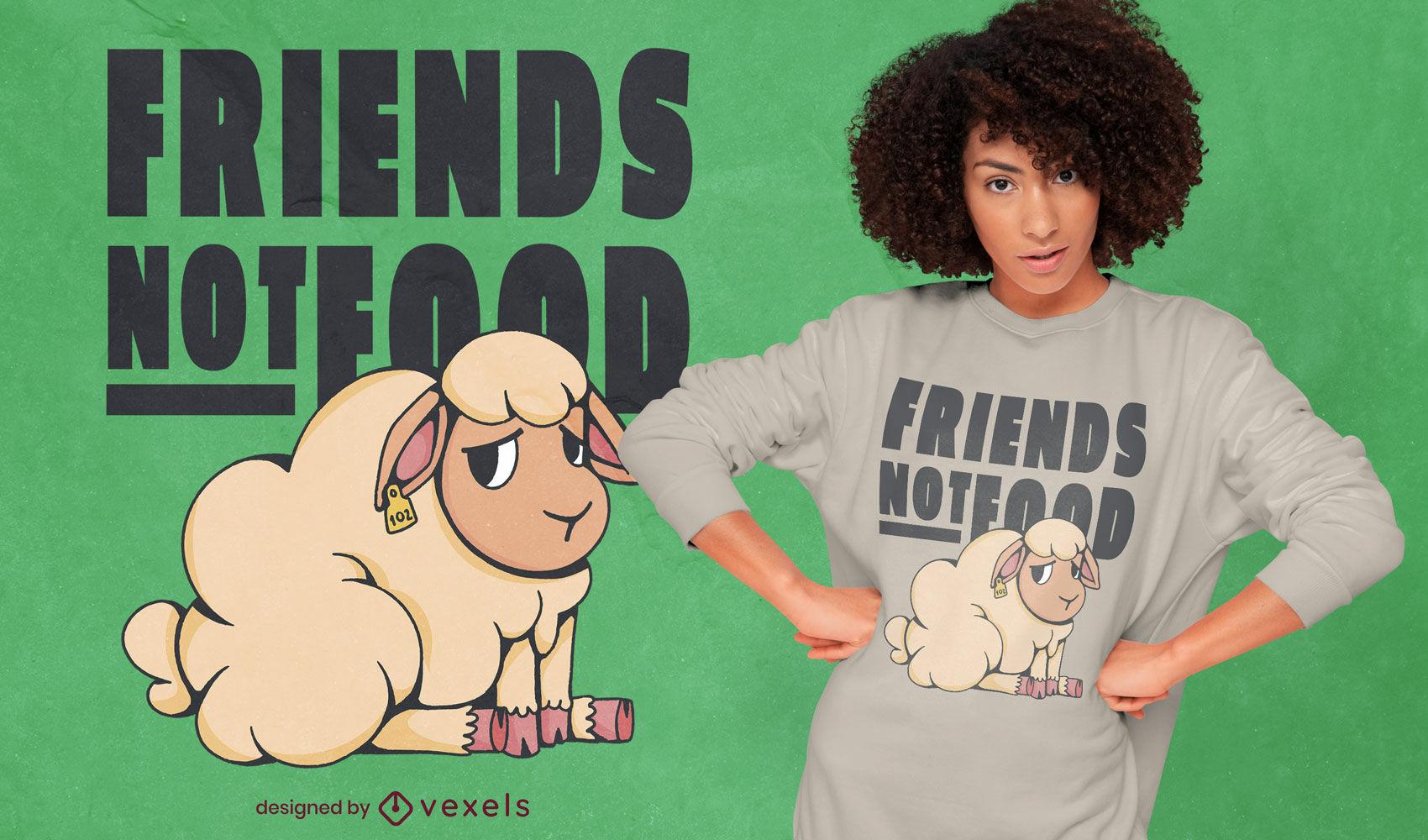 Desenho de t-shirt com citação de animal vegan de ovelha triste