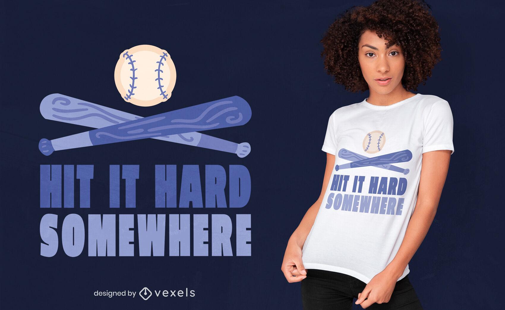 Diseño de camiseta azul con cita de béisbol