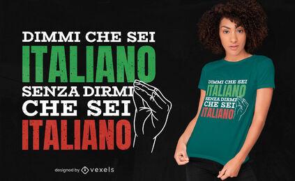 Diseño de camiseta italiana con gesto de mano.