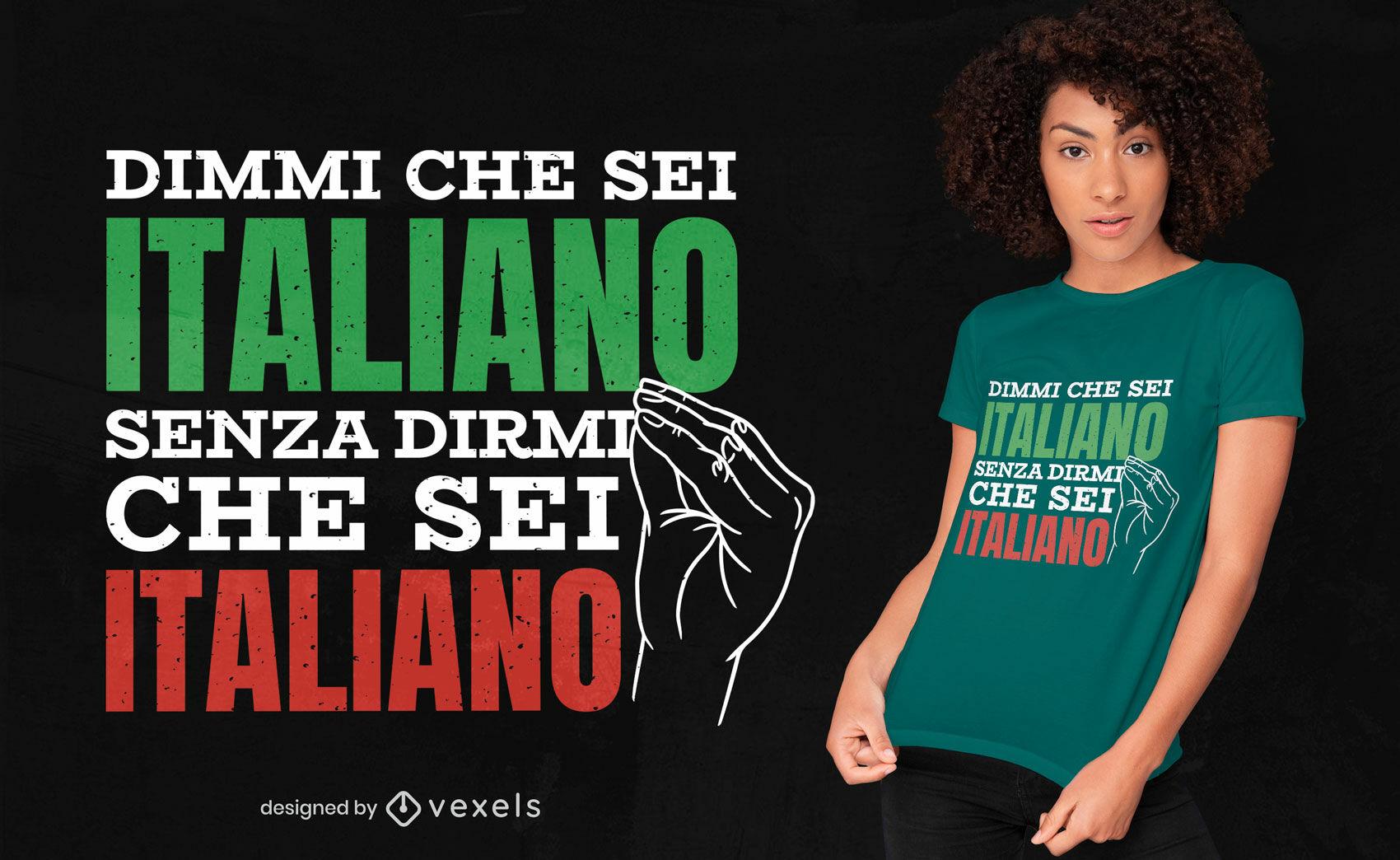 Design italiano de t-shirt com gestos de mão