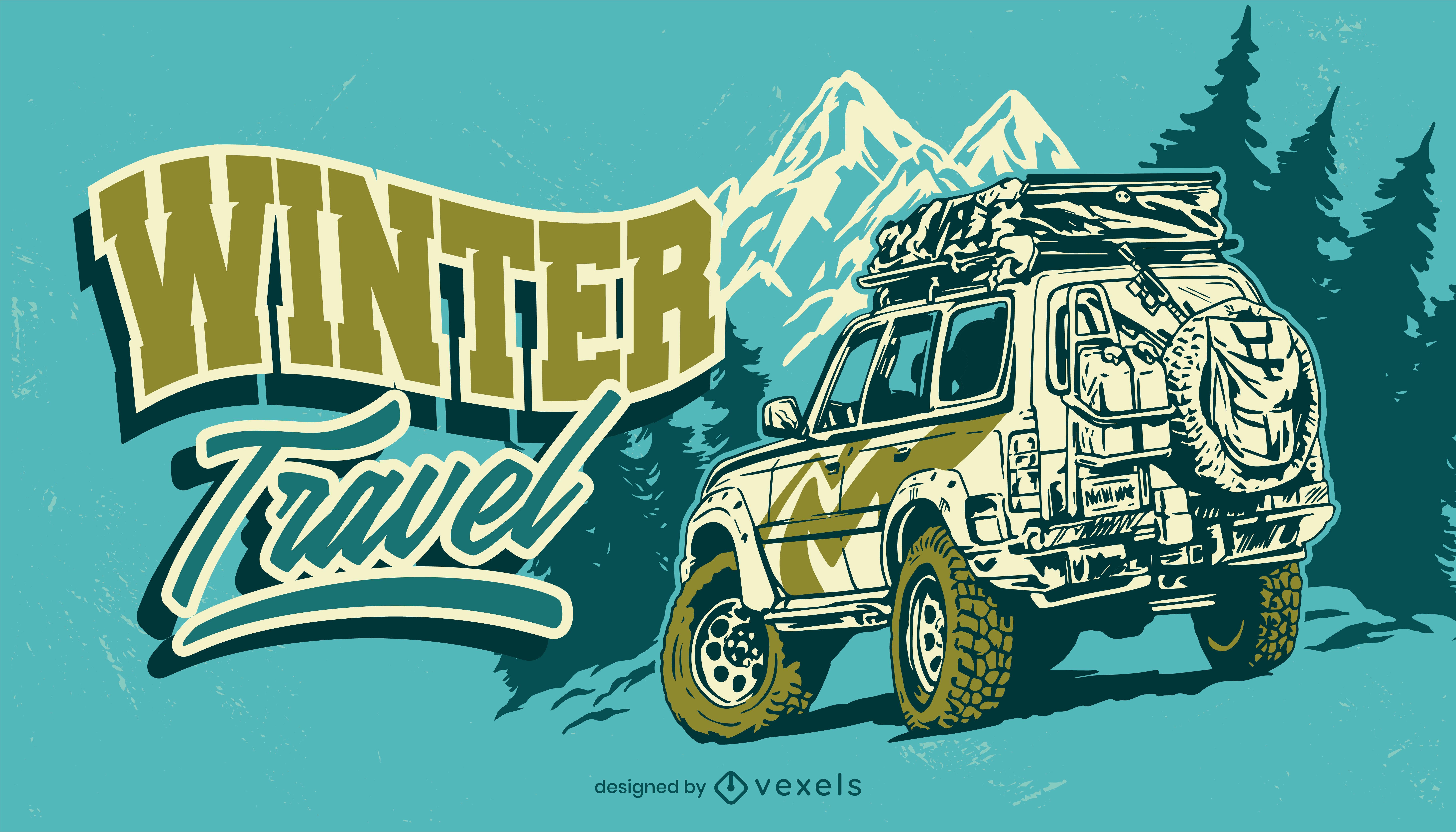 Ilustración de aventura de invierno de coche de viaje por carretera