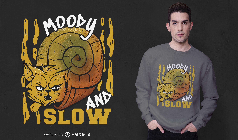 Angry cat snail animal t-shirt design