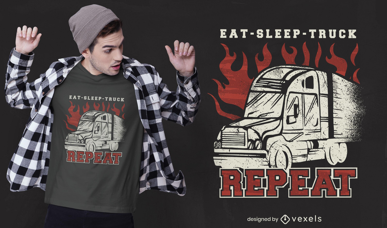 Dise?o de camiseta de rutina de transporte de camiones.