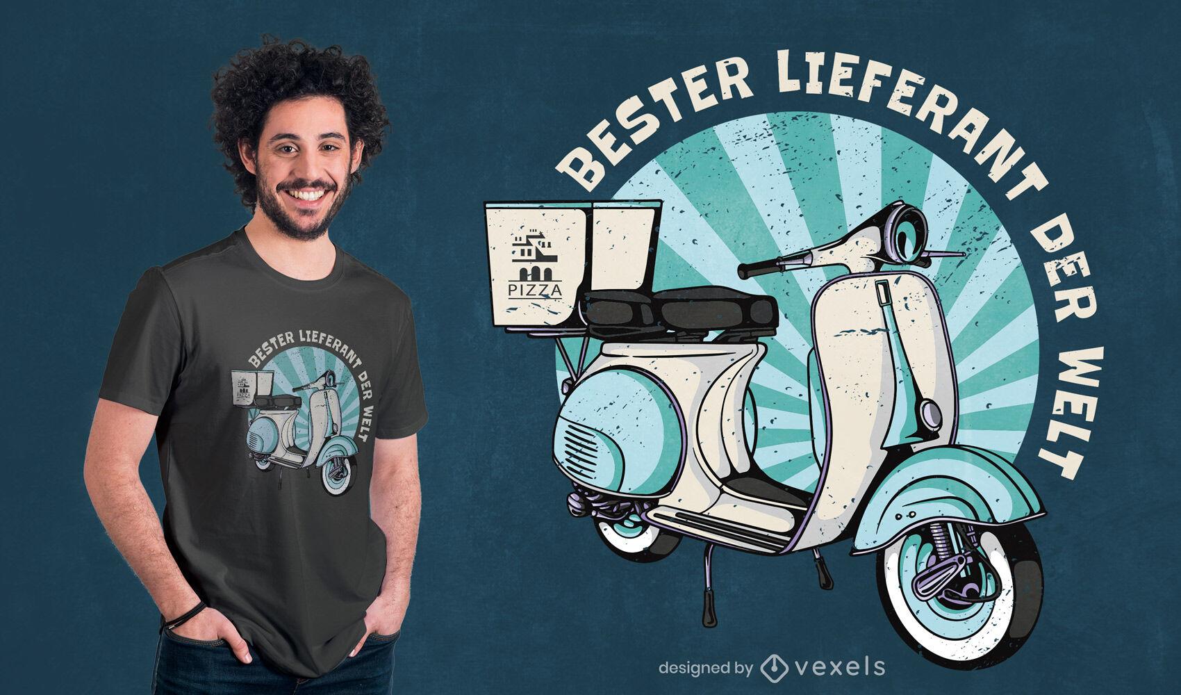 Diseño de camiseta de moto de entrega.