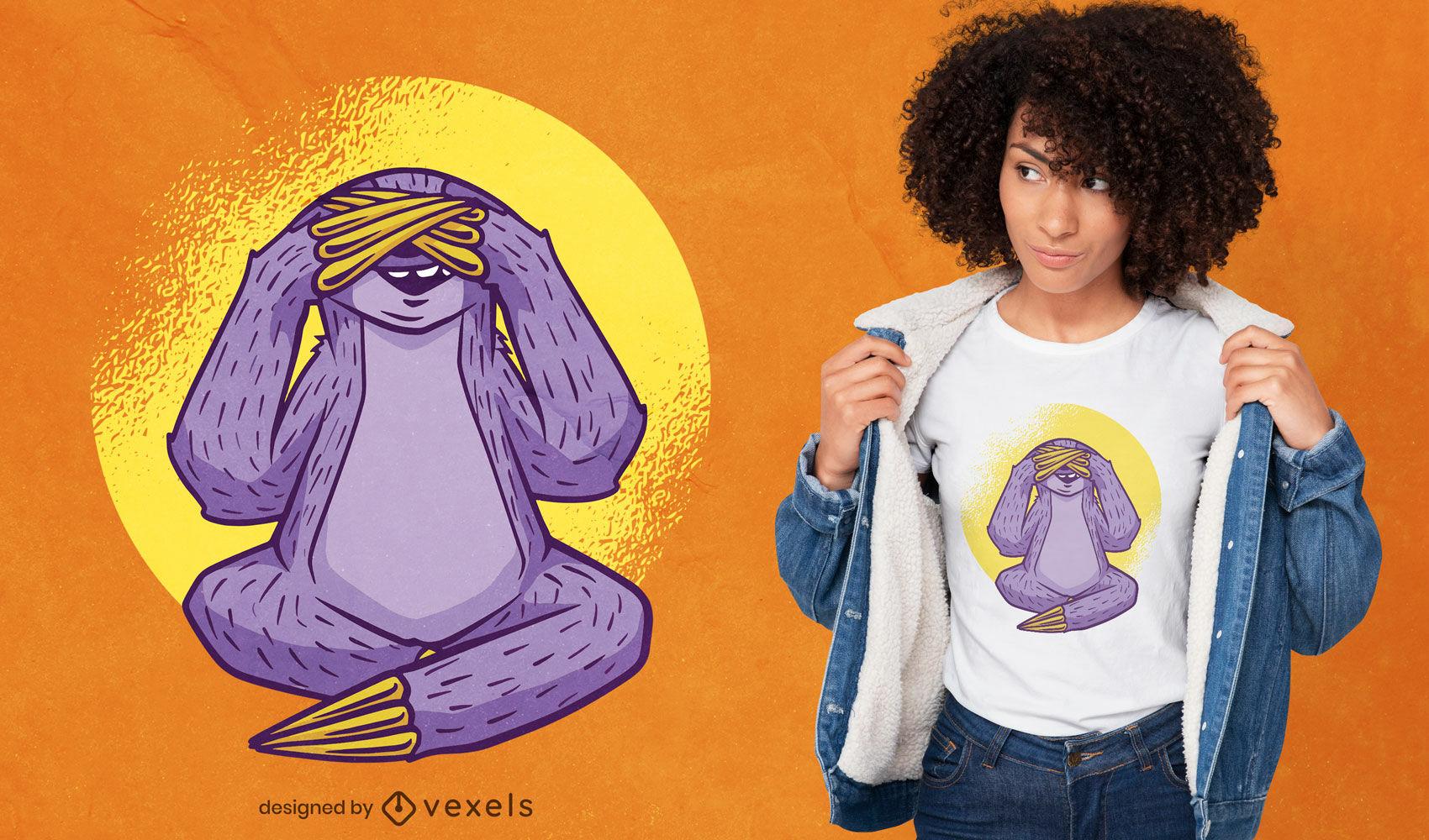 Design de t-shirt de preguiça cobrindo os olhos