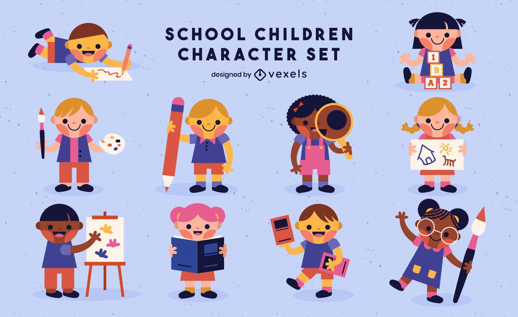 Conjunto fofo de personagens de crianças em idade escolar