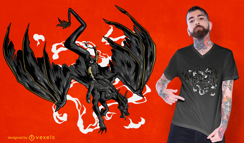 Design de camiseta com criaturas de dragão e caubói montando