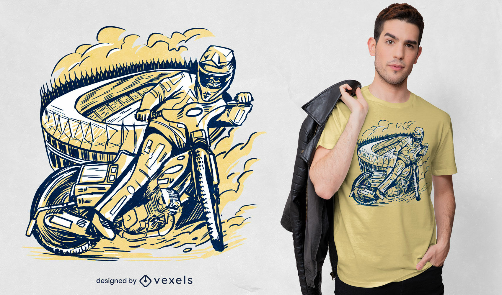 Piloto de moto en diseño de camiseta de estadio.