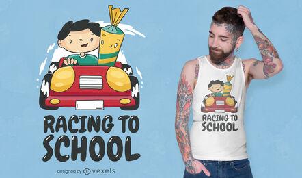 Niño de escuela en diseño de camiseta de coche