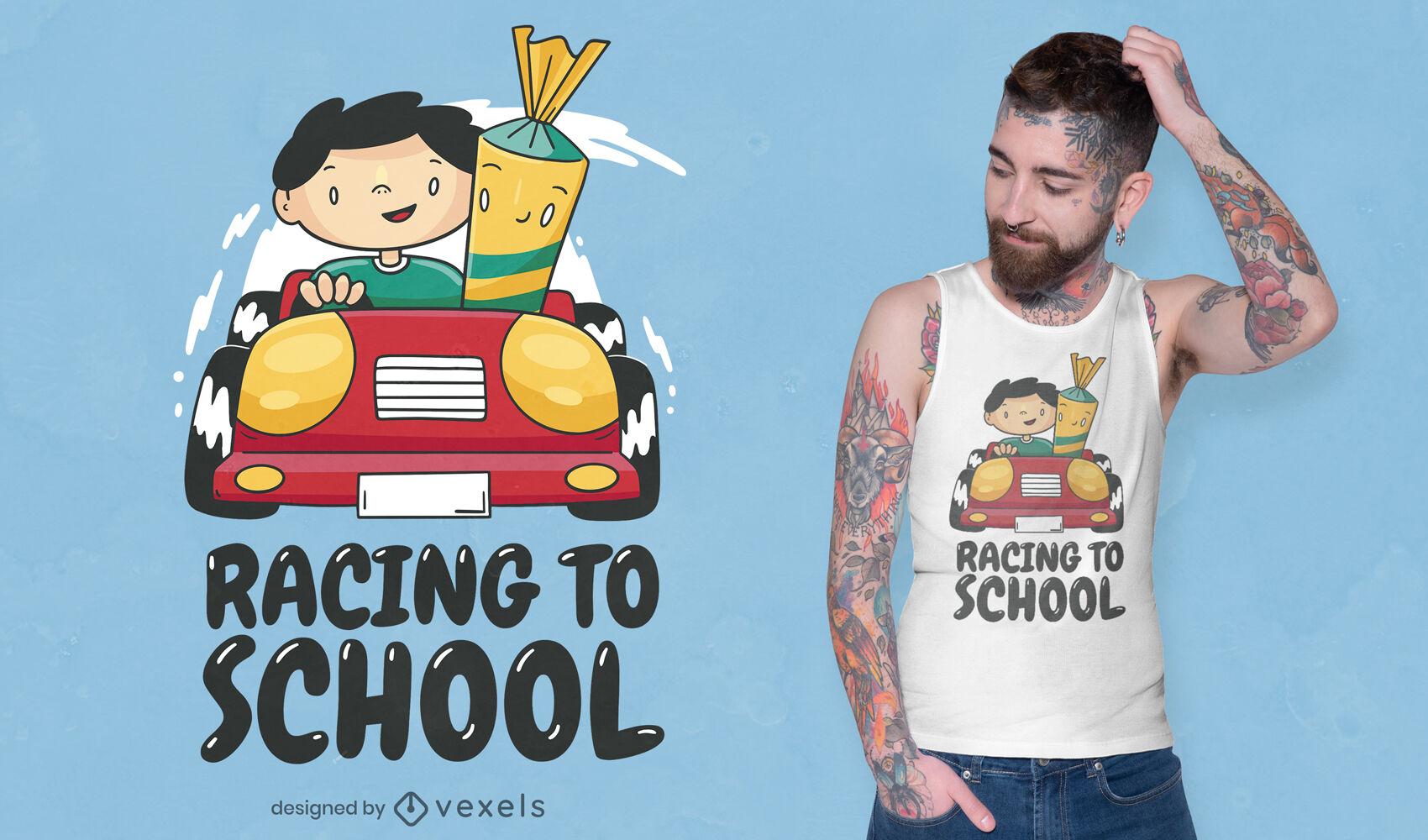 Menino da escola com design de camiseta de carro