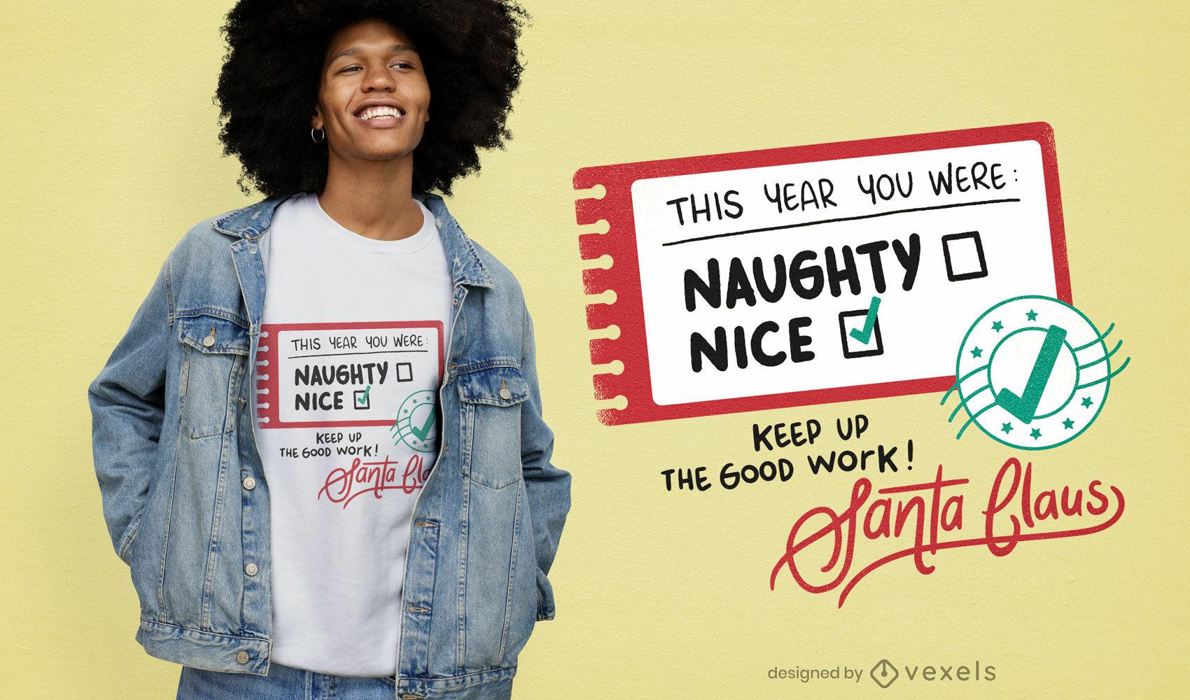Diseño de camiseta de lista de navidad de santa claus