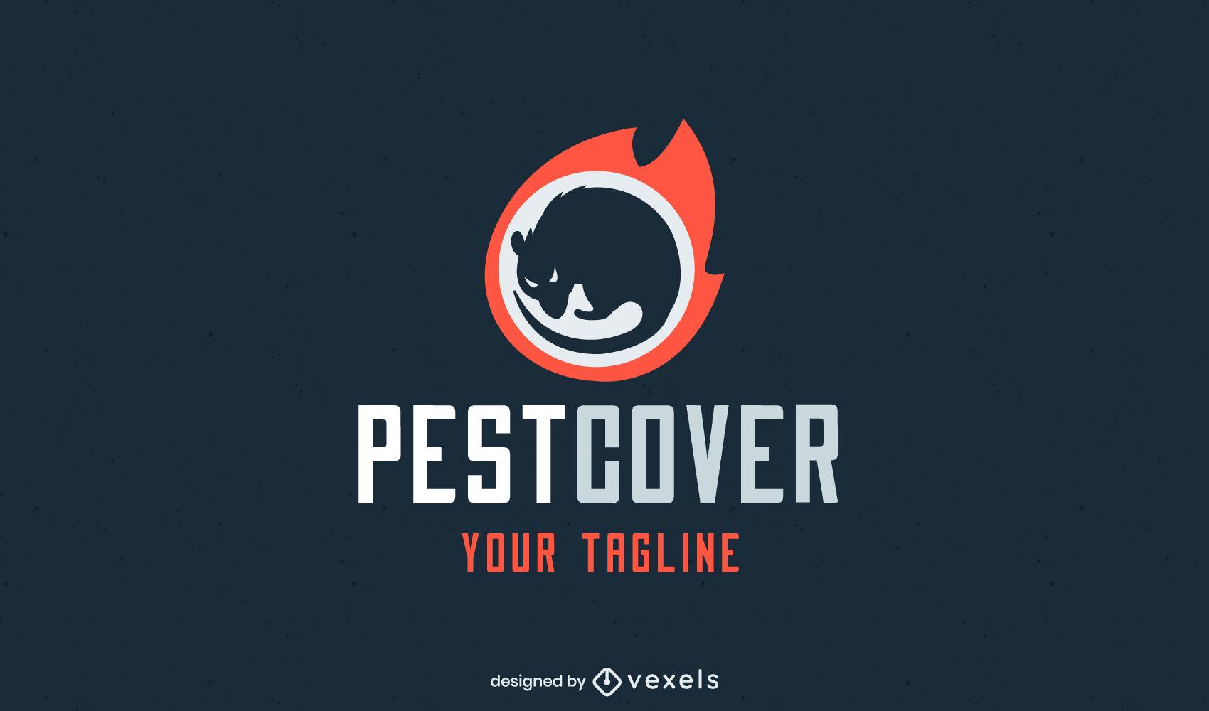 Plantilla de logotipo de control de plagas de rata en el fuego