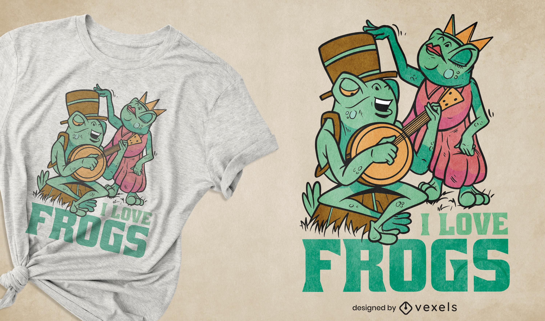 Diseño de camiseta de músico y princesa rana.