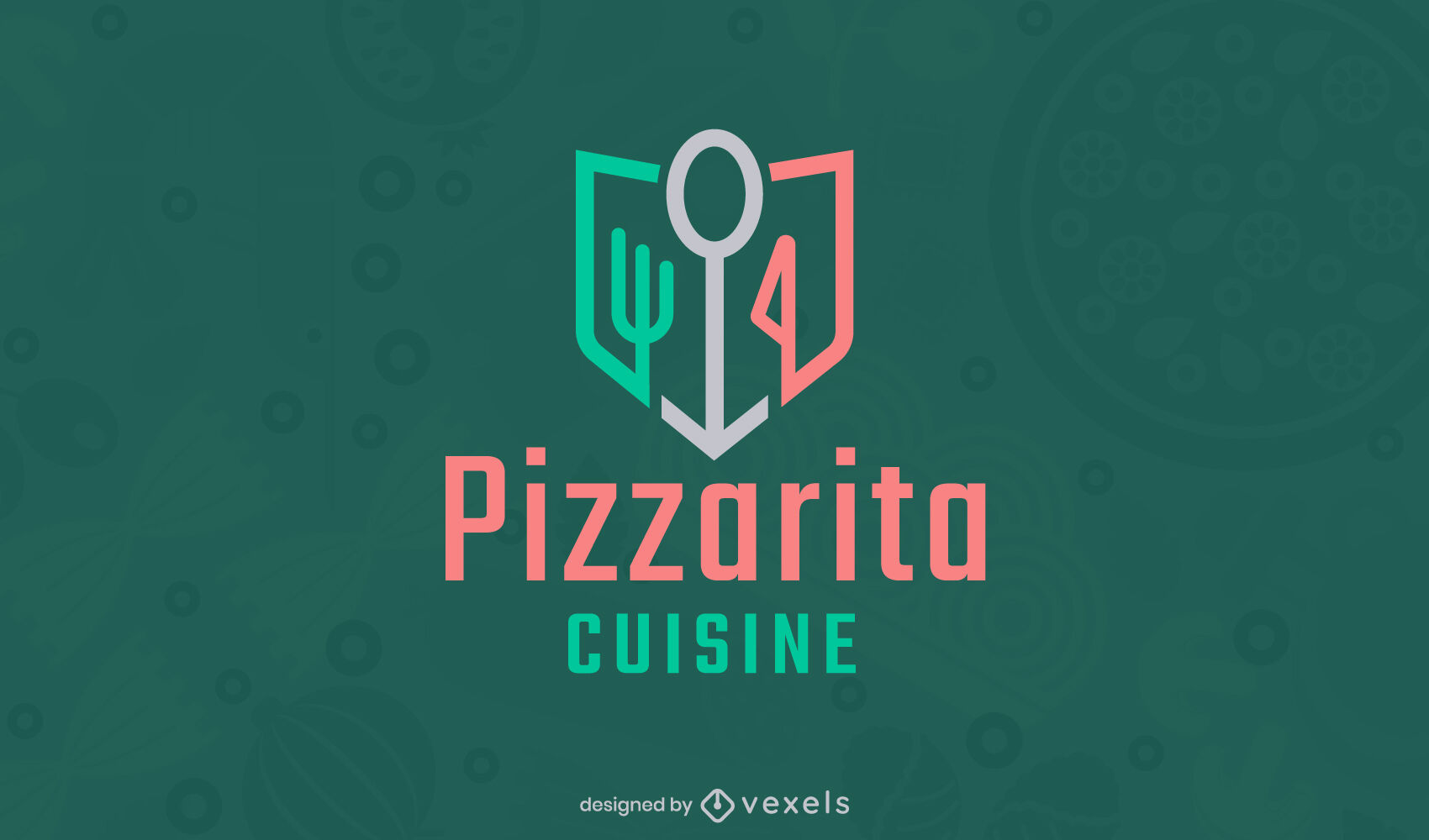 Geometric cooking elements logo template