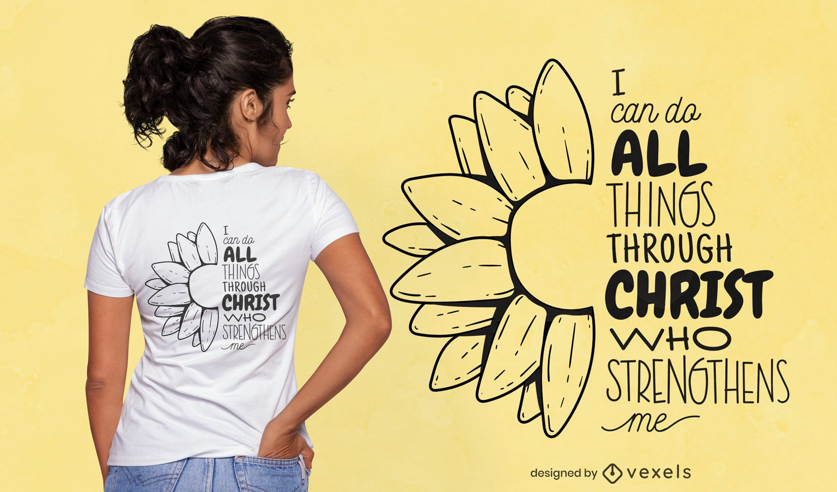 Dise?o de camiseta de cita religiosa cristiana.