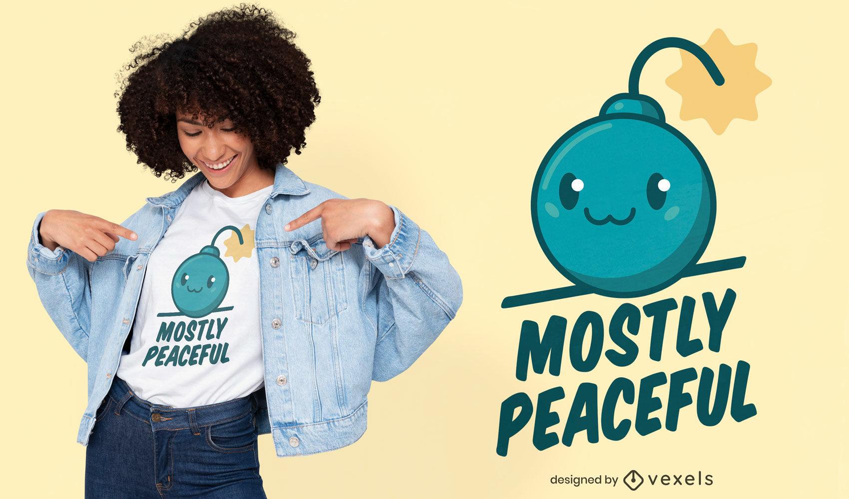 Design de t-shirt com citação de explosão de bomba fofa