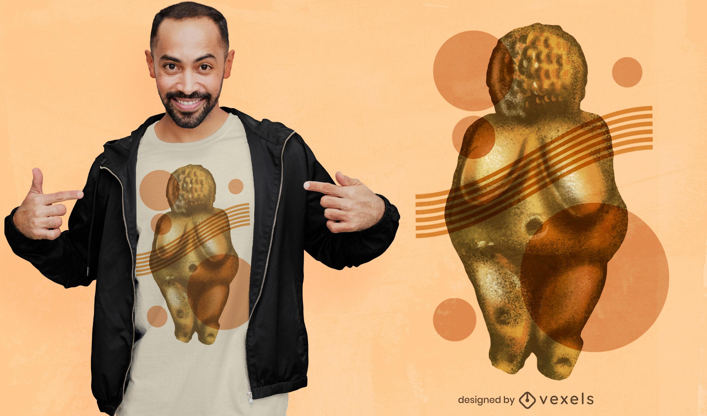 Desenho de camiseta com estátua antiga do corpo da mulher