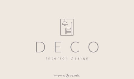 Minimalistic chair and lamp home decor logo template