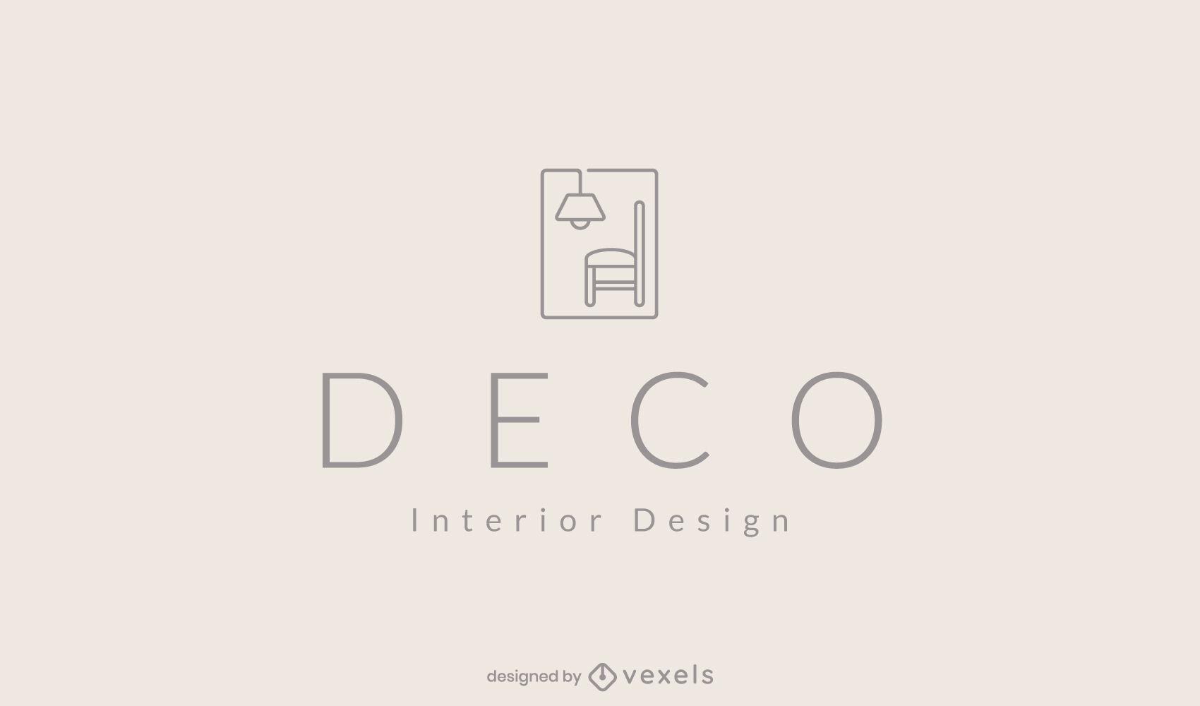 Plantilla minimalista de logotipo de decoraci?n del hogar de silla y l?mpara