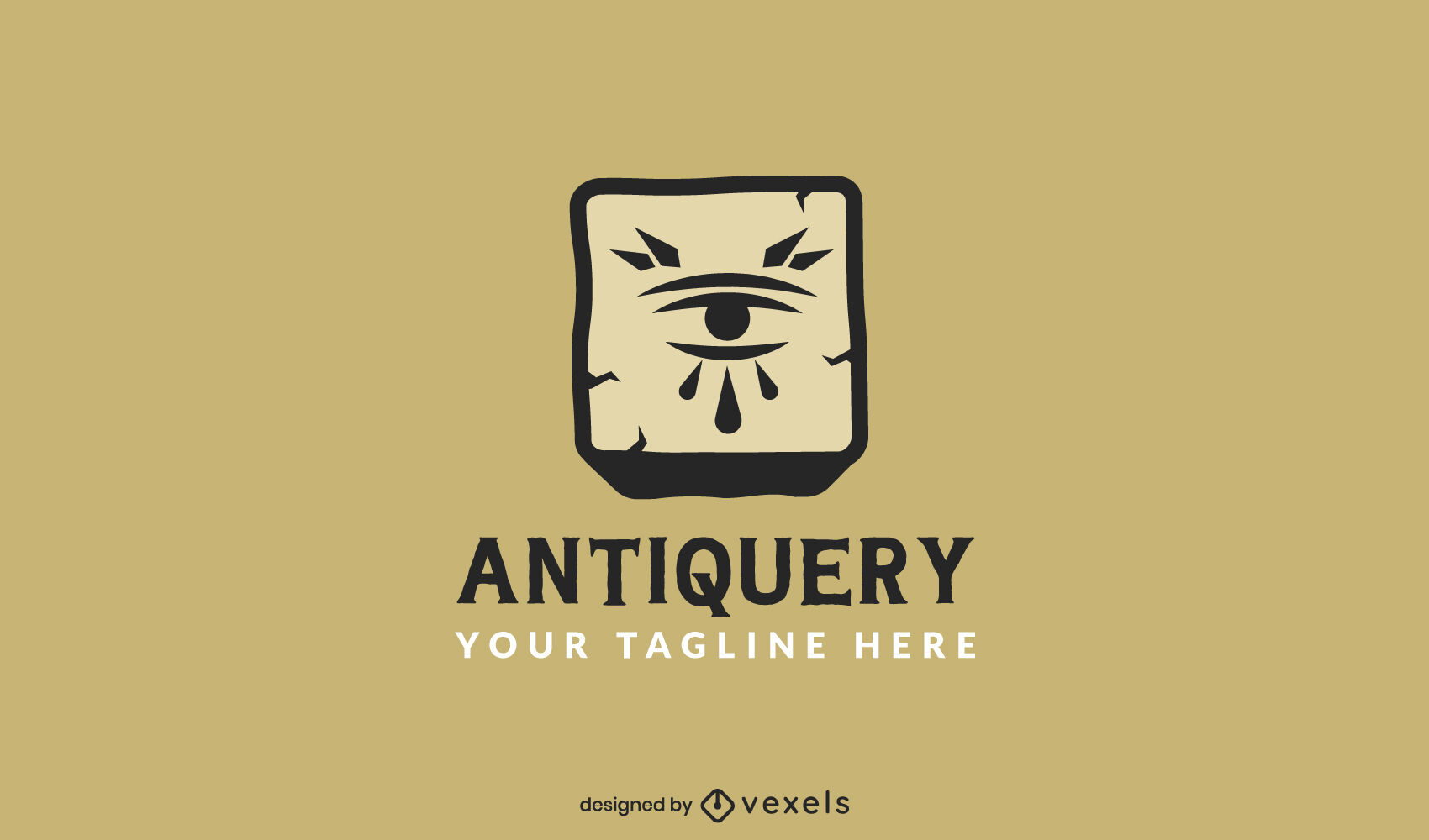 Eye in ancient stone antique logo template