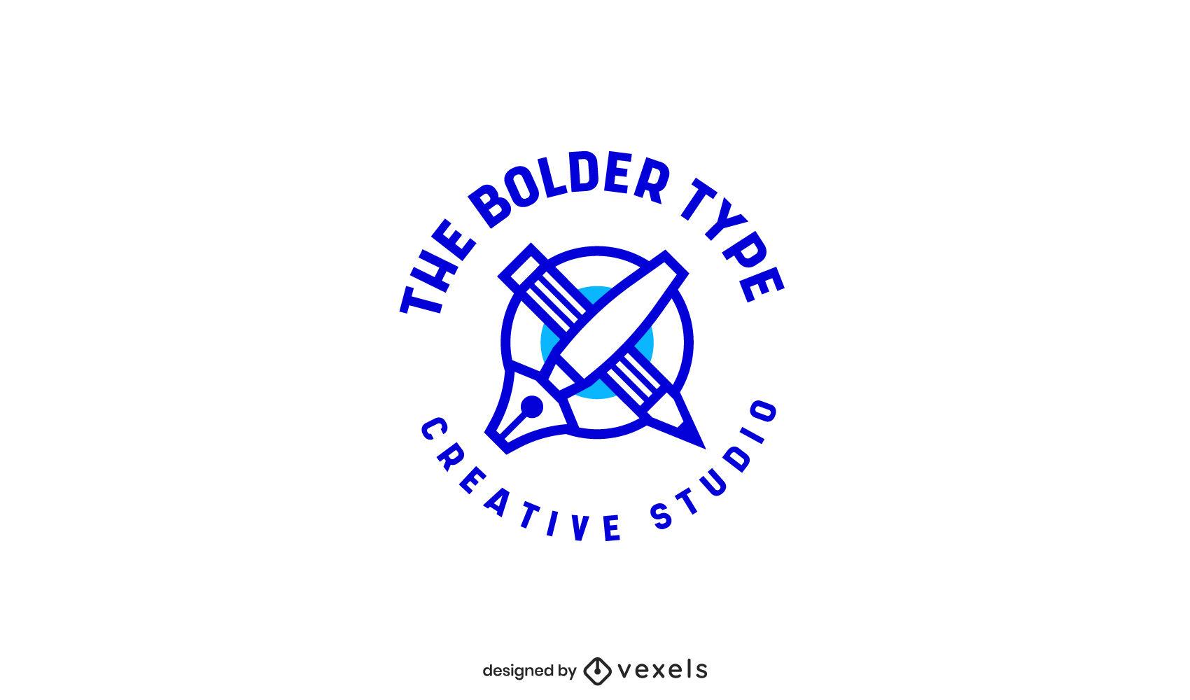 Modelo de logotipo de caneta e lápis