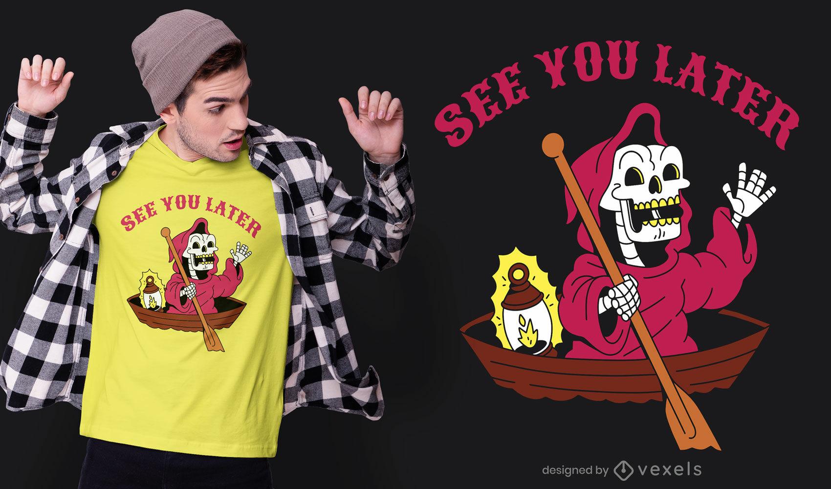 Desenho do Ceifador no design de uma camiseta de barco