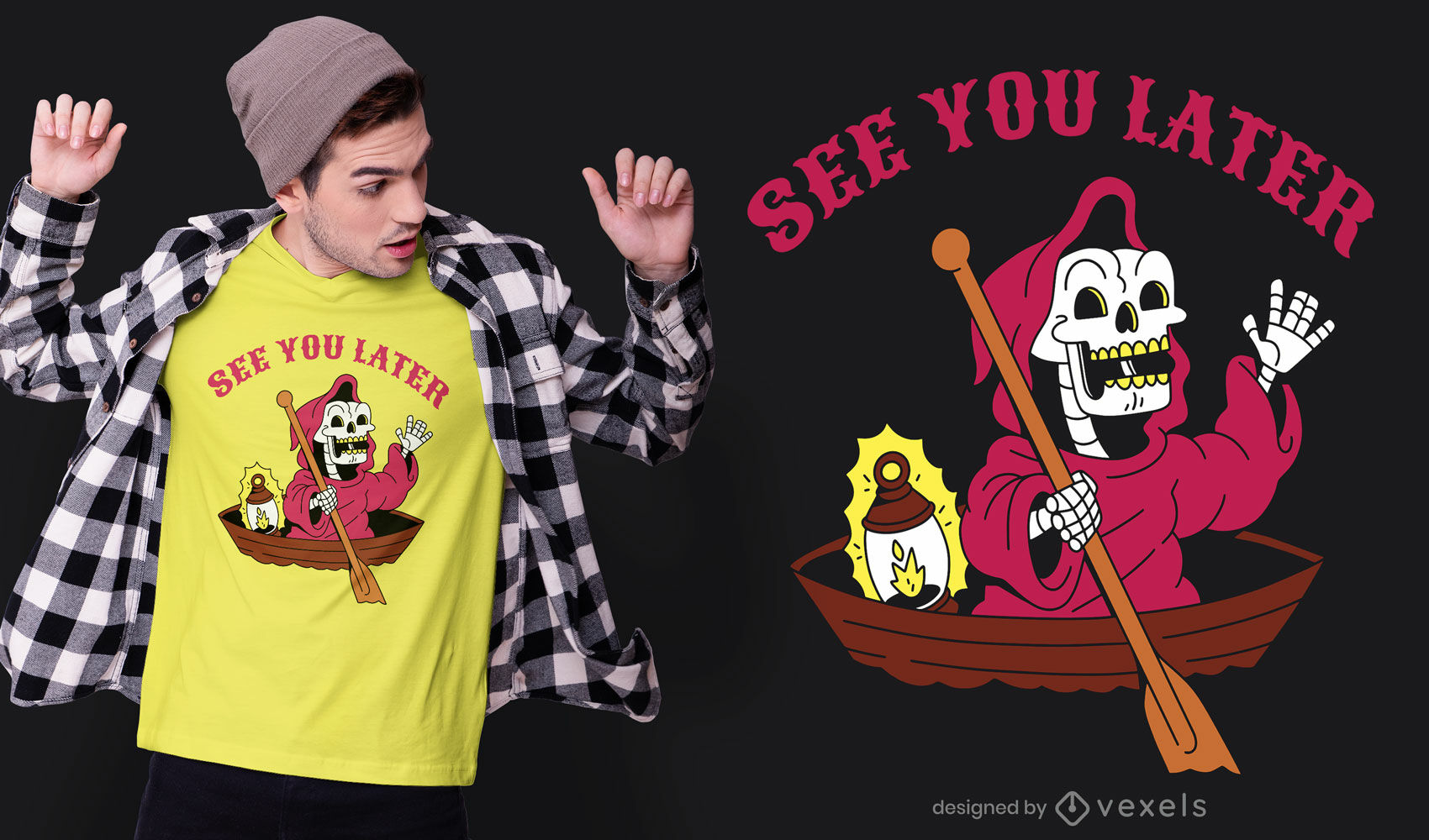 Sensenmann-Cartoon auf Boot-T-Shirt-Design