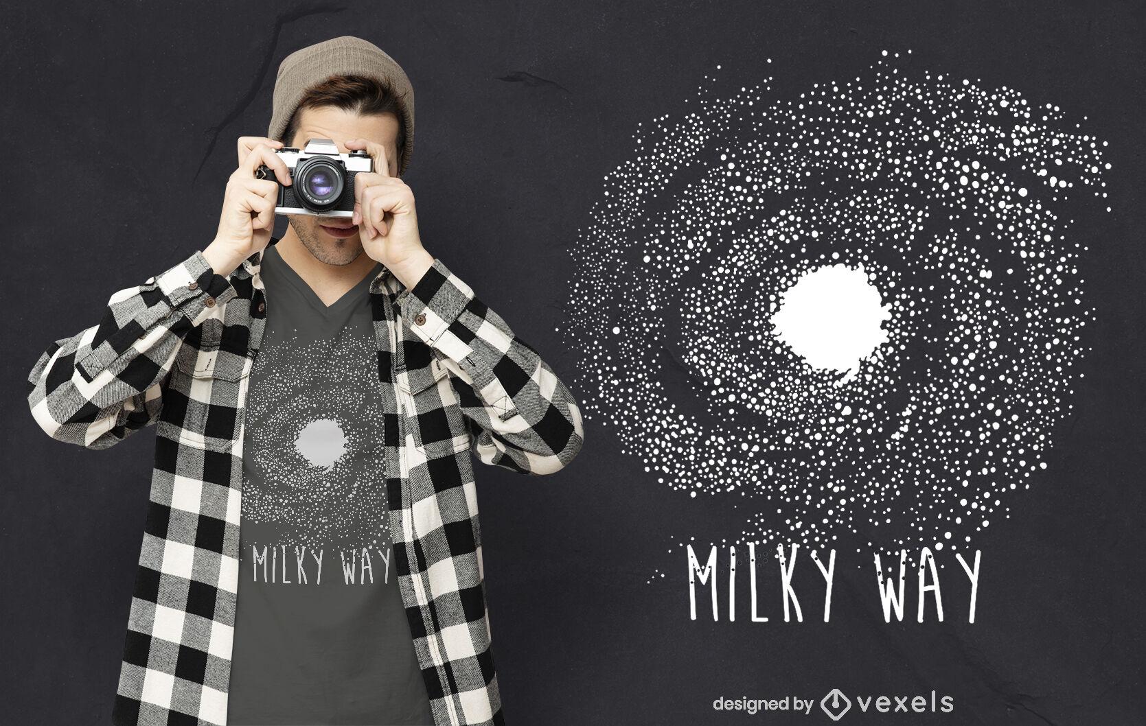 Design de camiseta de citação da Via Láctea