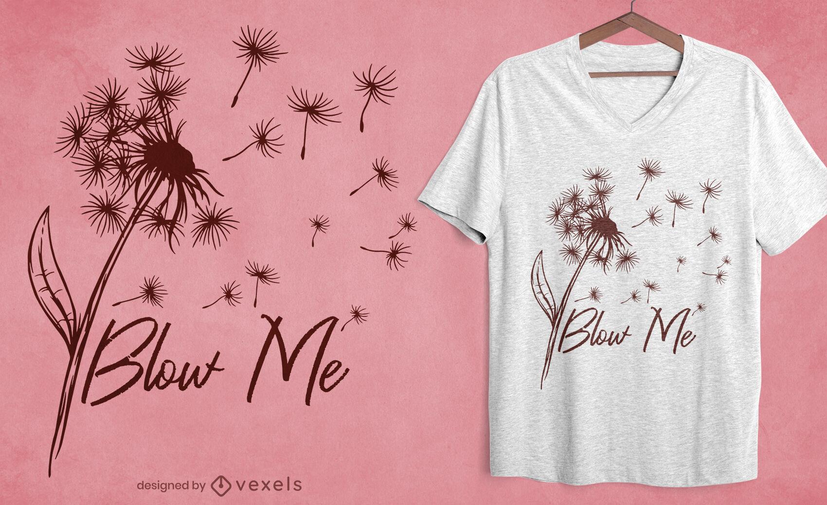 Diseño de camiseta de naturaleza de flor de diente de león.