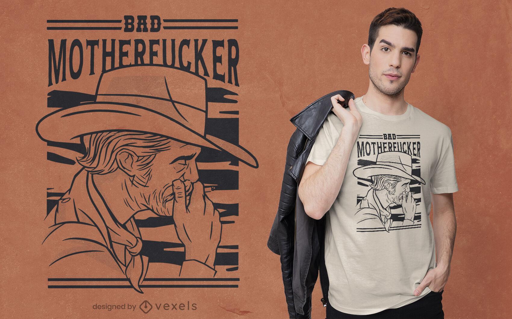 Dise?o de camiseta de hombre viejo vaquero fumando