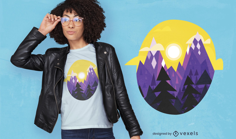 Diseño de camiseta geométrica de paisaje de montaña.