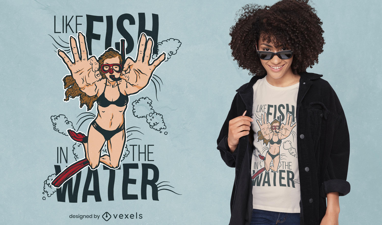 Diseño de camiseta de mujer nadando en el océano.