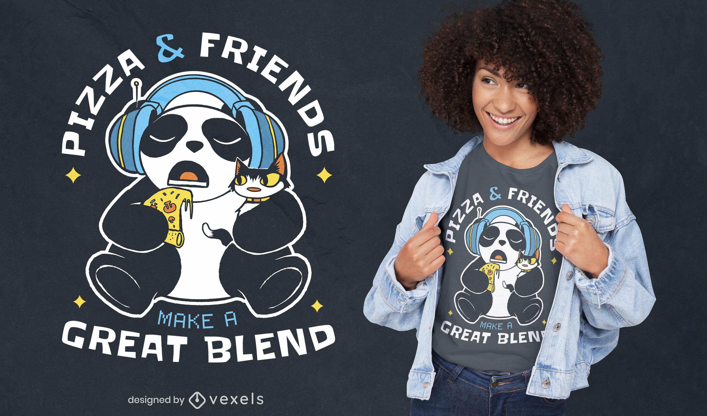 Diseño de camiseta pizza y amigos.