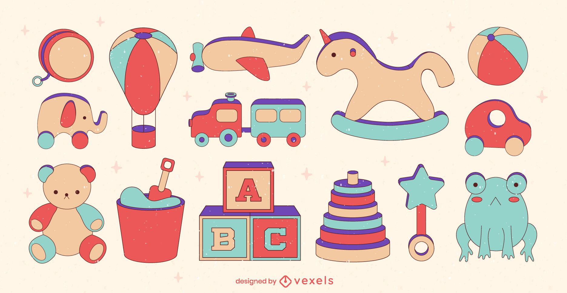 Conjunto de trazos de color de juguetes para bebés