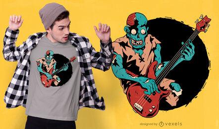 Zombie bass player musician t-shirt design